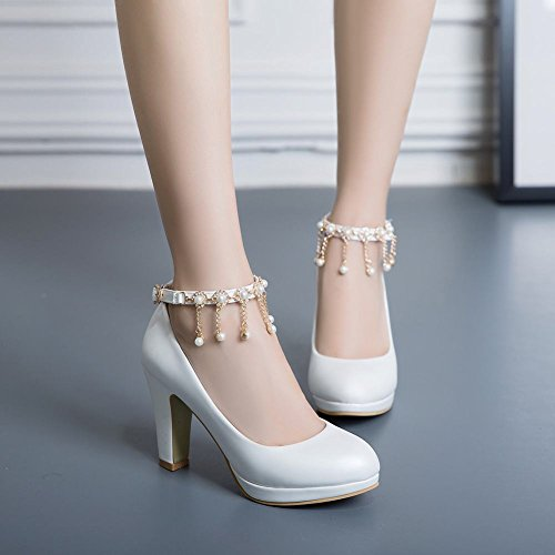 Mee Shoes Women's Charm High Heel Size 2-8 Faux Pearl Court Shoes White AXpOBs