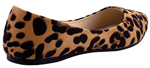 ... Bella Marie Sko Kvinners Angie-53 Spisse Semsket Leiligheter I Forskjellige  Farger Og Design Leopard