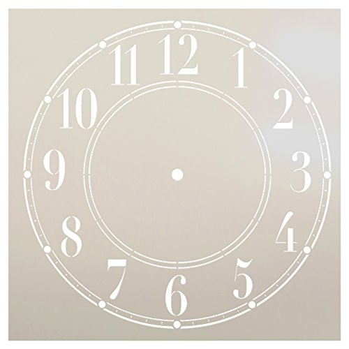 (Schoolhouse Clock Stencil by StudioR12 | Basic Style Clock Face Art - Reusable Mylar Template | Painting, Chalk, Mixed Media | Use for Crafting, DIY Home Decor - STCL179 (8