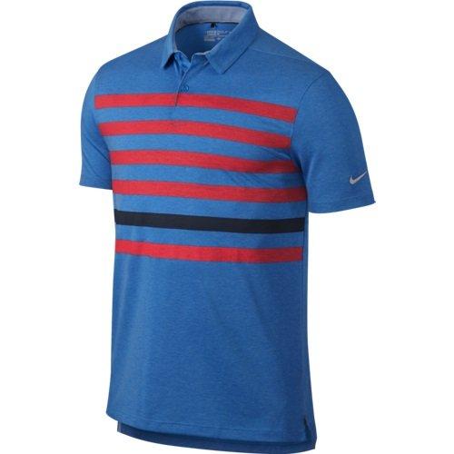 NIKE Golf Dry Stripe Polo (Photo Blue/Bright Crimson/Obsidian/Flat Silver) M