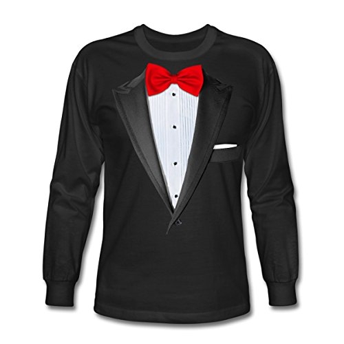ith Red Bow Tie Men's Long Sleeve T-Shirt, S, Black ()