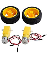 2 Sets DC Gearbox Motor TT Motor 200RPM Tire Wheel DC 3-6V for Arduino Smart Car 1:48 Male Connector, for Arduino Micro:bit