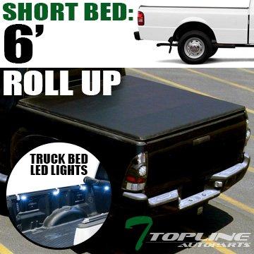 Topline Autopart Lock & Roll Up Soft Vinyl Tonneau Cover & Truck Bed LED Lighting System For 83-11 Ford Ranger ; 94-10 Mazda B-Series B2300 / B2500 / B3000 / B4000 6 Feet (72