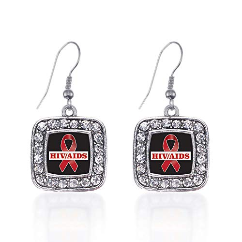 (Inspired Silver - HIV/AIDS Awareness Ribbon Charm Earrings for Women - Silver Square Charm French Hook Drop Earrings with Cubic Zirconia Jewelry)