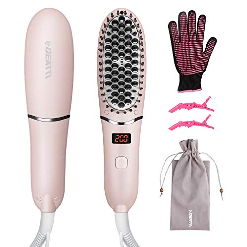 Hair Straightener Brush by DEATTI, Ionic Ceramic Straightening Brush with Anti-Scald, Five Heat Settings for Fizzy and Curly Hair