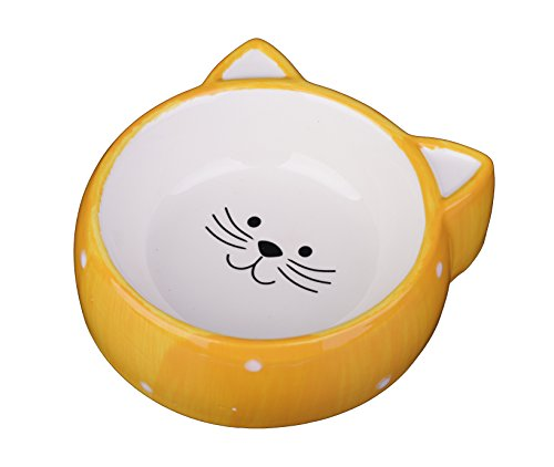MushroomCat Ceramic cat bowl pet cat ears Yellow
