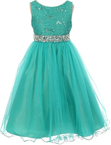 Little Girls Dress Wedding Pageant Sleeveless Lace Crystal Rhinestone Tulle Sash Flower Girl Dress Jade 6 (M3B4K0)