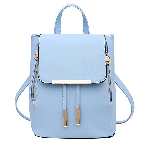 Womens Backpack Daypack Casual Pu Leather Laptop Bag Lightweight Handle (Light Blue Leather Bags)