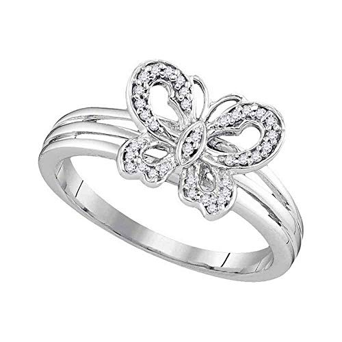 Jewels By Lux 10kt Two-tone Gold Womens Round Diamond Butterfly Bug Ring 1/8 Cttw In Pave Setting (I2-I3 clarity; J-K color)