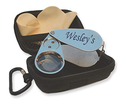 Wesley's 40X Jewelers Loupe Magnifier LED/UV Illuminated, Includes a Sturdy EVA Travel Carrying Case, Jewelers Magnifying Glass for Gardening, Kids,Coin, Stamp and Rock Collecting (Metal)