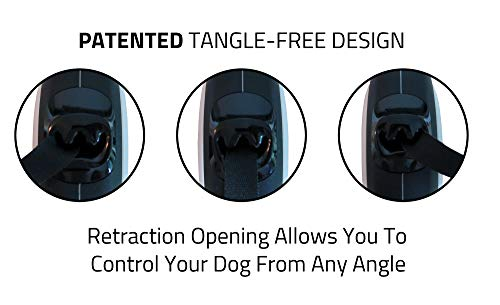 Large Product Image of TUG Patented 360° Tangle-Free, Heavy Duty Retractable Dog Leash for Up to 110 lb Dogs; 16 ft Strong Nylon Tape/Ribbon; One-Handed Brake, Pause, Lock …