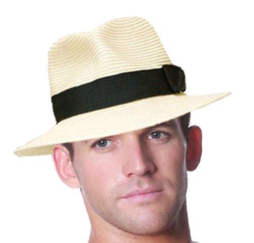 Faltbarer Herren-Strohhut im Panama-Stil, mit schwarzem Band Gr. X-Large, Schwarz - Natural-Black Band