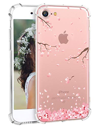 Cherry Blossom iPhone 8 Case Floral iPhone 7 Case, Hepix Pink Flowers Print Clear iPhone 8 Case Soft Transparent Flexible Protective TPU Bumper Back Cover for iPhone 7 iPhone 8 - Cherry Blossom Phone