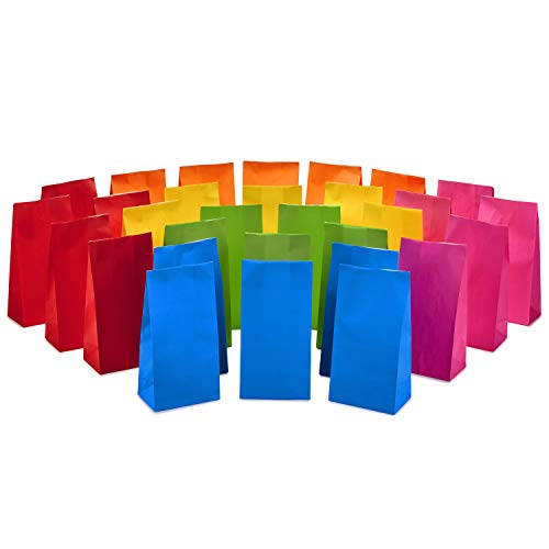 Colored Paper Bags (Hallmark Solid Color Party Favor and Wrapped Treat Bags (30 Ct., 5 Each of Blue, Red, Green, Yellow, Orange, Pink) for Birthdays, Baby Showers, Crafts and)