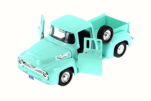 Motor Max 1955 Ford F-100 Pick Up Truck, Green/Turquoise 79341WB - 1/24 Scale Diecast Model Toy Car