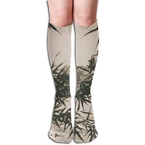 19.68 Inch Compression Socks Bamboo Rain Leaves High Boots Stockings Long Hose for Yoga Walking for Women Man