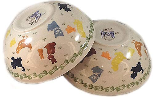 Set of 2 Polish Pottery Cereal Bowls On the Farm Cat Dog Chicken Duck Bunny