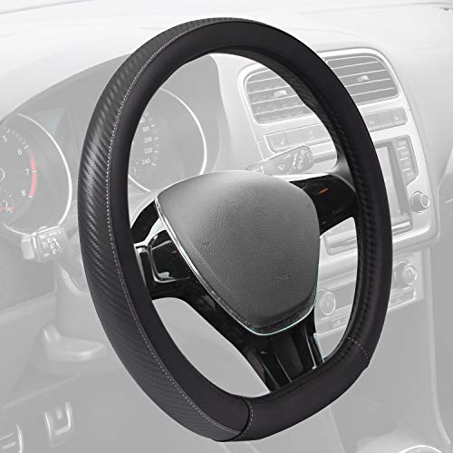 (Motor Trend GripDrive Carbon Fiber Series - Steering Wheel Cover - Synthetic Leather Flat-Bottom Racing Style 13.5