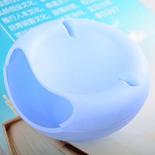 VEIREN 3 In 1 Double-Layer Circular Plastic Fruit Plate Creative Melons Seeds Nuts Bowel Storage Box Snack Serving Bowl Peels Holder with Slot for iPhones, Kindles, ()