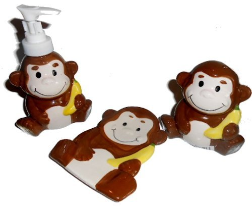 Monkey Bathroom Accessories - Lotion Soap Dispenser, Soap Dish & Toothbrush Holder