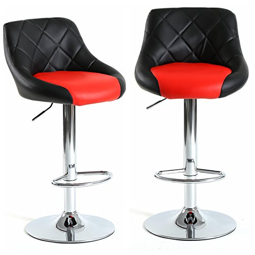 (Magshion Mixed Color 2 Tones Bar Stool Chair Dining Counter Bar Pub- Set of 2 (Black/Red))