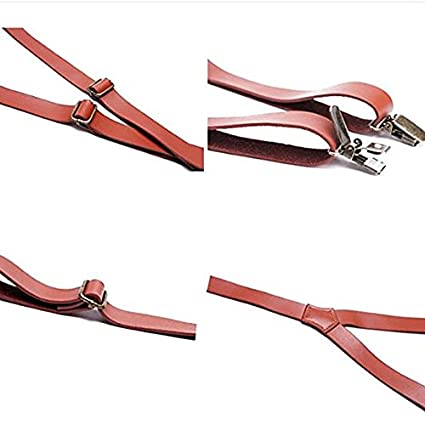 Hello Tie Clip On Y Shape Adjustable Braces Mens Genuine Leather Suspenders