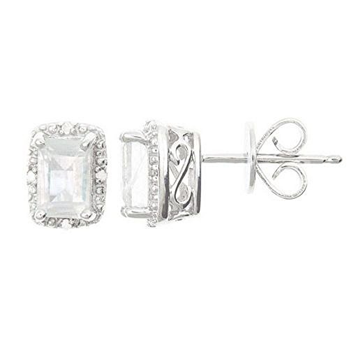 925 Sterling Silver Emerald Cut Moonstone & Diamond Halo Stud Earrings 6mm x (Diamond Moonstone Earrings)