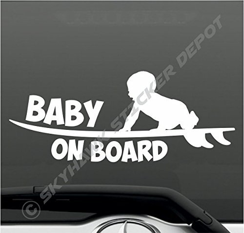 Baby on board funny bumper sticker vinyl decal surfer baby surfing surfboard sticker sea ocean