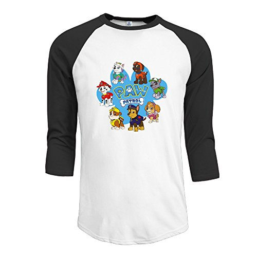 LQYG Men's Three Quarter Sleeve T Shirt - Paw Patrol Black M