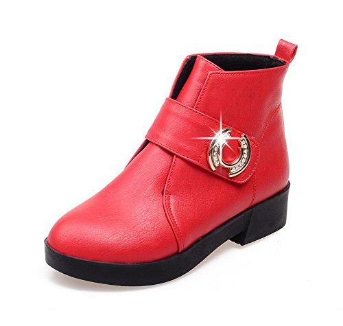 AllhqFashion Mujeres Puntera Redonda Sólido Caña Baja Mini Tacón Botas con Ornamento Metal Rojo