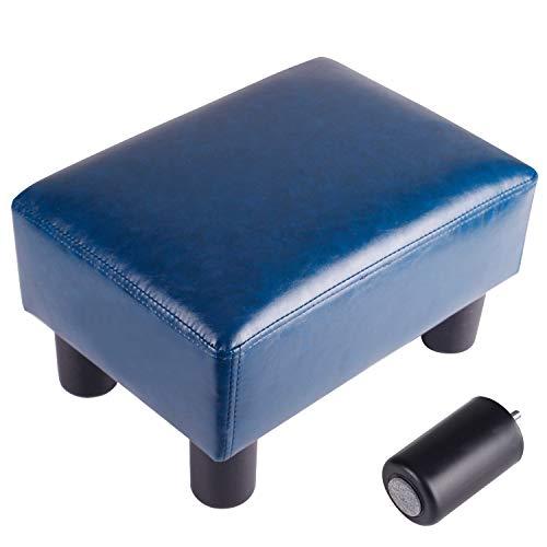 (GRUNEN WOLKEN Footrest Small Ottoman Stool PU Faux Leather Modern Rectangle Seat Chair Footstool, Royal Blue)