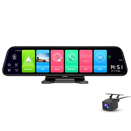 ShiShen 12'' Full Screen 4G Touch IPS Car Dashboard Dash Cam Rear View Android 8.1 Smart Mirror with WiFi GPS Navi Bluetooth Music Dual Lens FHD 1080P