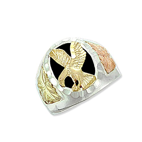 Men's 10k Yellow Gold Eagle and Onyx Ring, Sterling Silver, 12k Green and Rose Gold Black Hills Gold Motif, Size 7