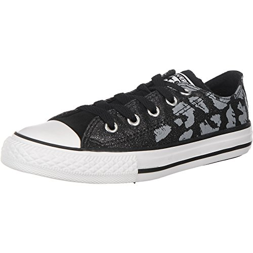 Converse Chuck Taylor All Star Girls' Glittery Sneakers Black/Mouse 650059C (1 Little Kid M)