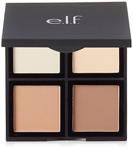 e.l.f. Cosmetics Contour Palette, Four Powder Shades Perfectly Contour and Highlight Your Features, Light/Medium (Best Drugstore Contour Brush)