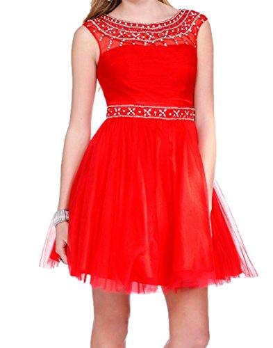Cocktailkleider Charmant Rot Abendkleider Mini Promkleider Tuell Damen Kurzes Tanzenkleider Attraktive XUqnwZU6v