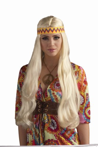 Groovy Chick Costume (Forum Novelties Women's 60's Generation Hippie Chick Costume Wig with Headband, Blonde, One Size)
