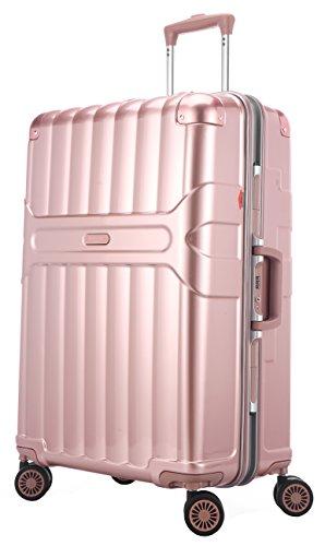 Ambassador Luggage Aluminum Frame Carry On Luggage Polycarbonate Spinner Suitcase Rose Gold by Ambassador