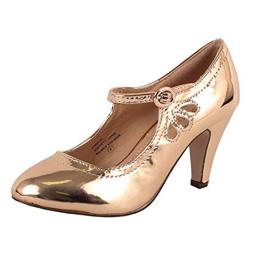 Chase & Chloe Women's Kimmy-21 Regular |Mary Jane | Mid Heel Shoes,7.5 B(M) US,Rosegold
