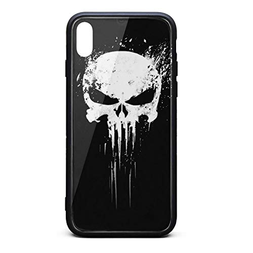 Price comparison product image 3D-Punisher-Skull- Phone Case for iPhone X / XS Full Protective TPU Rubber Shockproof Anti-Scratch Fashionable Glossy Anti Slip Thin Case