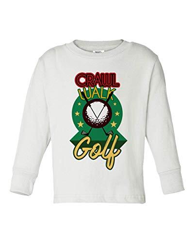 Societee Baby Crawl Walk Lift Fish Golf Soccer Hockey Little Kids Girls Boys Long Sleeve Toddler T-Shirt (White, 2T) ()