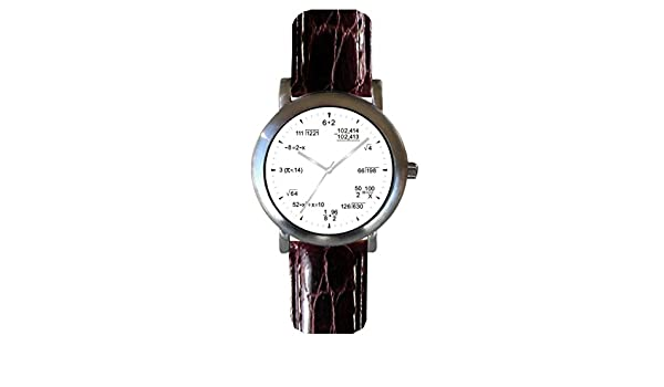 ... Shows Pop Quiz Equations At Each Hour Indicator on the White Dial of the Brushed Chrome Watch with Brown Croc Design Stitched Leather Strap: Watches
