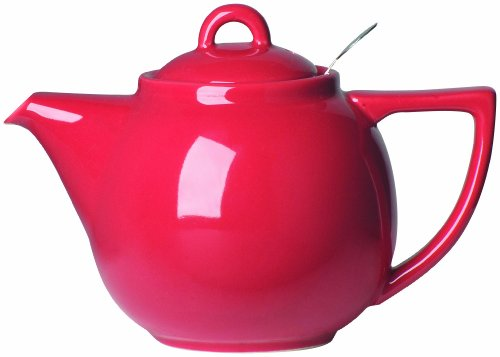 London Pottery Geo Teapot with Stainless Steel Infuser, 2 Cup Capacity, Red