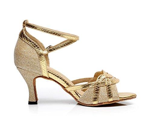 femmes Latin Doré danse Flare à de Paillettes talon QJ7027 Chaussures élégant Minitoo wF65qCF