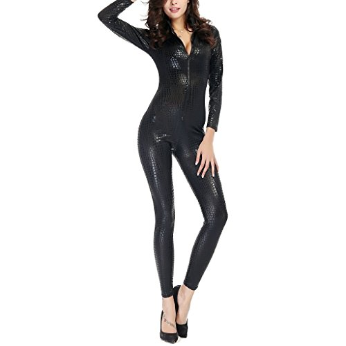 Colorful House Womens Costume Snake Skin Print Front Zipper Cat Suit, Black, Size M