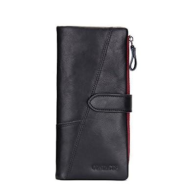 Contacts Mens Genuine Leather Checkbook Organizer Zipper Long Secretary Wallet Black