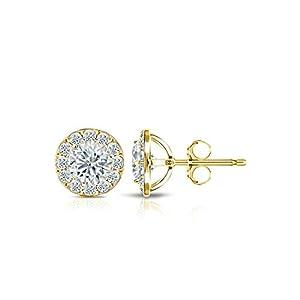IGI Certified 14k Yellow Gold Round-cut Diamond Halo Stud Earrings (1 ct, White, I1-I2)