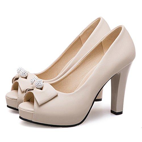 Talons Peep Toe Chaussures Femmes 65 RAZAMAZA Hauts Beige UqxtFf5
