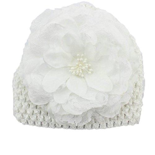 Flower Knit Beanie (AMA(TM) Newborn Baby Girls Flower Beanie Hat Photography Props Beret (White))