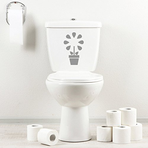StickAny Bathroom Decal Series Flower Pot Apple Sticker for Toilet Bowl, Bath, Seat (Silver)